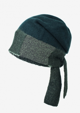 Boiled wool beanie - green forest and silver lurex