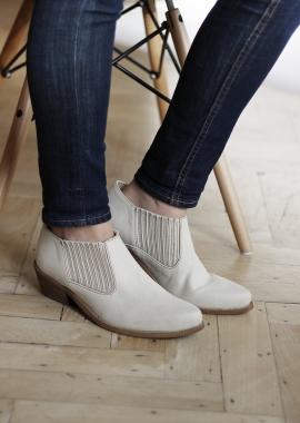 Low boots beiges en cuir vegan