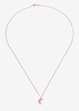 Collier lune en argent plaqué or rose