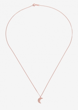 Moon pink gold plated silver necklace