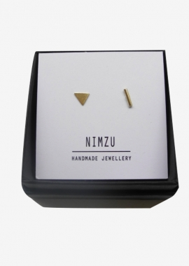 Mixed pair - 14kt gold triangle and stick
