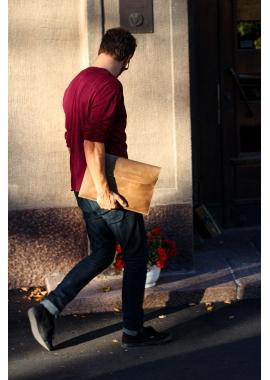 César - housse pour ordinateur portable en nubuck camel, tannage végétal