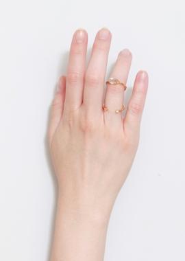 Bague double en plaqué or, zircons blancs et améthyste verte
