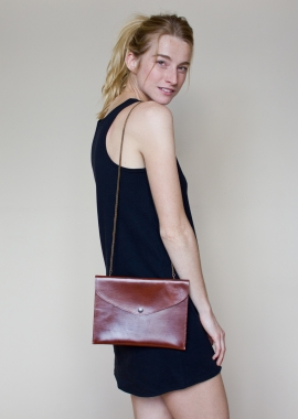 Rosemary - Sac porté épaule en cuir brun, tannage végétal