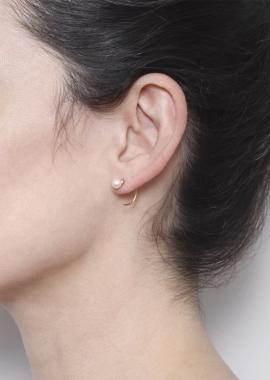 Boucles d'oreilles en argent plaqué or 23kt, perles d'eau