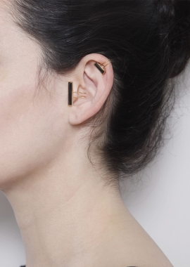 Ear cuff zircon noir, argent plaqué or 23kt