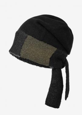 Bonnet en laine bouillie - noir et lurex doré