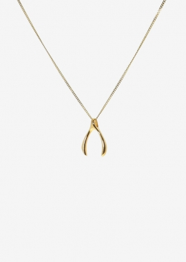 Wishbone gold plated necklace
