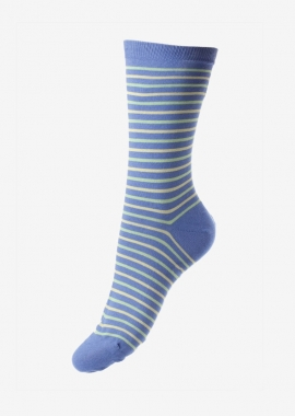 Blue and green striped sea Island cotton socks