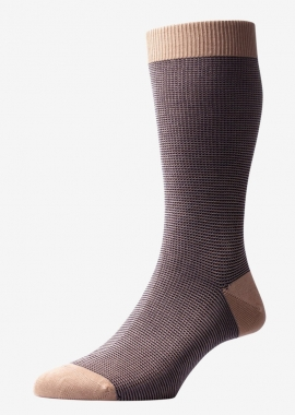 Khaki fairisle cotton sock