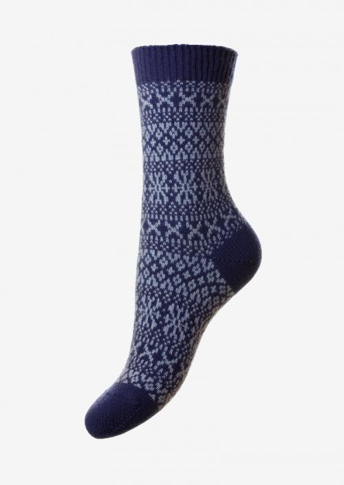 Femmes - Chaussettes en cachemire jacquard bleu
