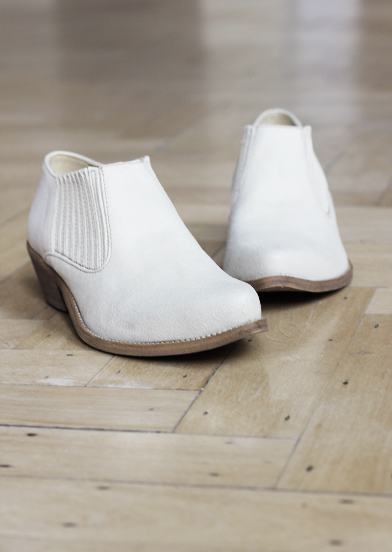 Beige vegan leather low boots