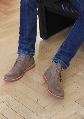 Beige vegan suede men boots