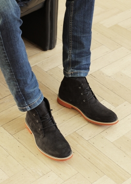 Black vegan suede men boots