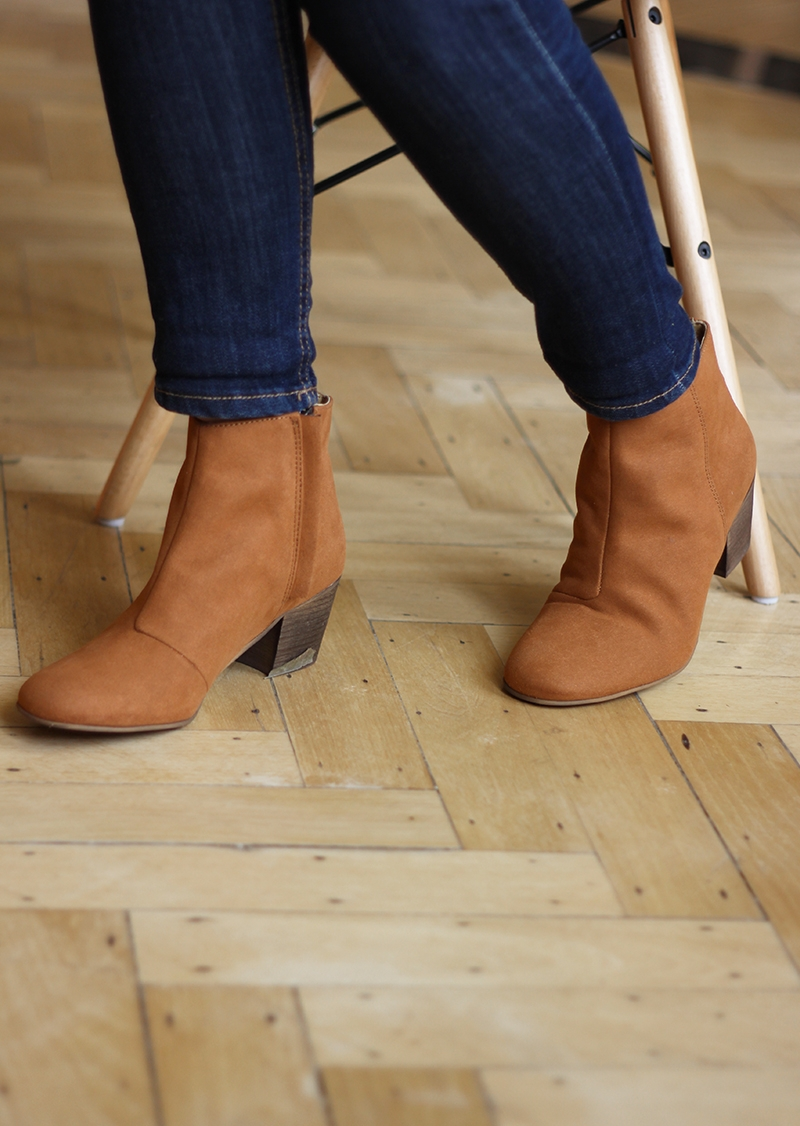 Camel vegan suede boots