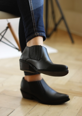 Black vegan leather low boots