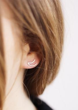 Boucle d'oreille double lune
