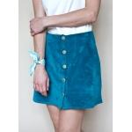 La jupe Agnes - Velours bleu azur
