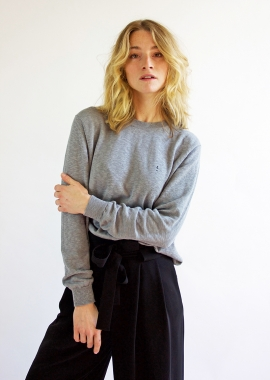 Grey luxe cotton sweater SANDRO