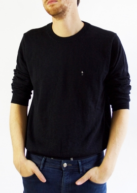Black luxe cotton sweater SANDRO