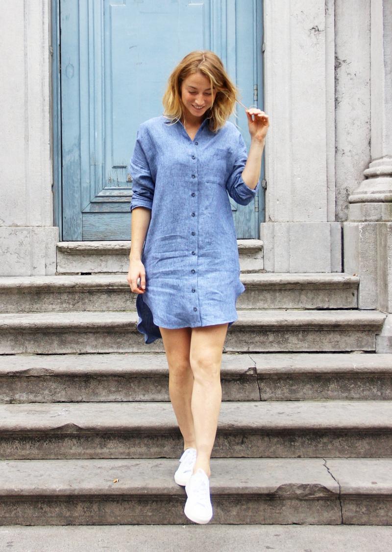 Robe chemise en lin Cristina