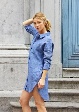 Cristina linen shirt dress