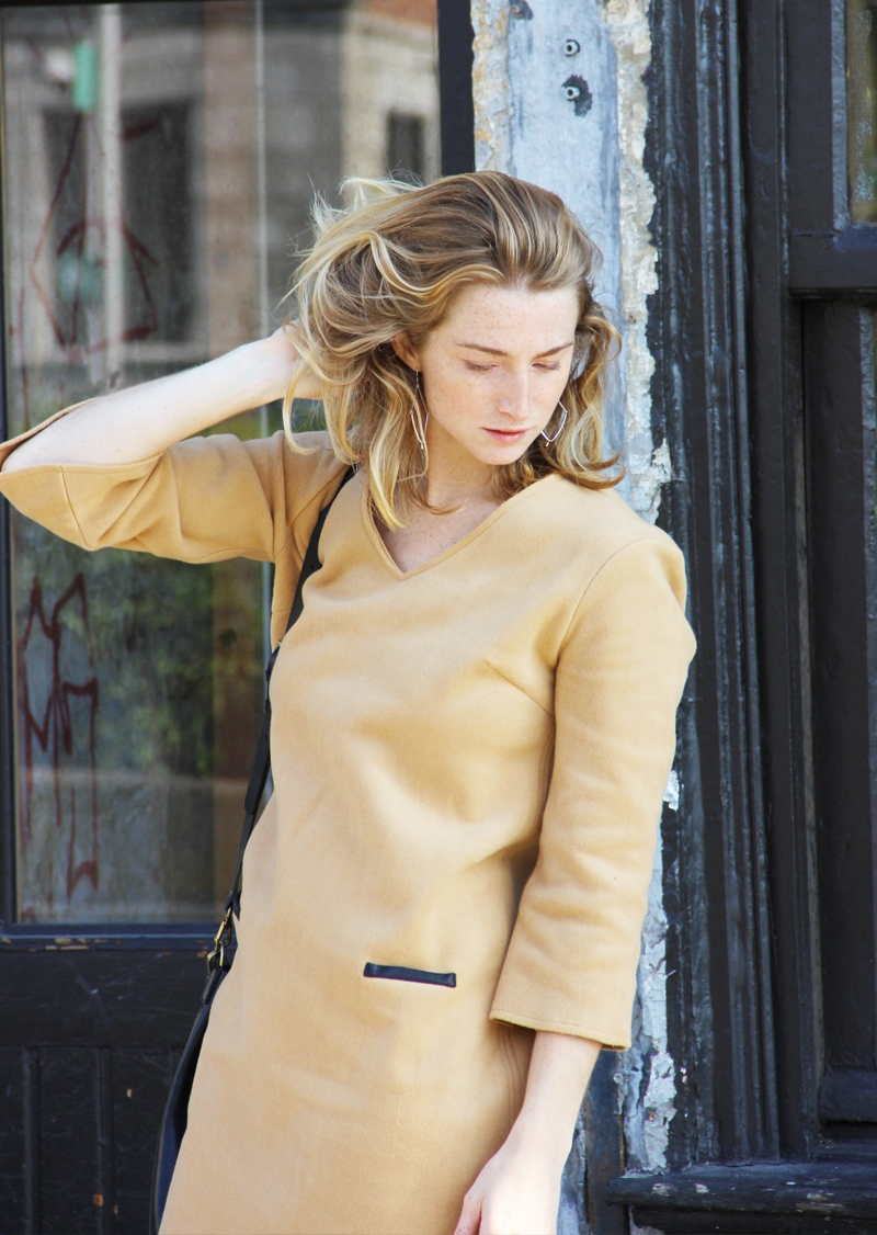 Camel organic fleece dress