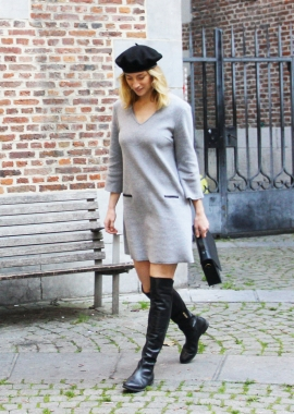 Grey organic fleece dress