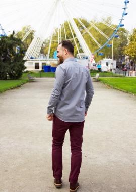 Men shirt - Grey dotted organic cotton