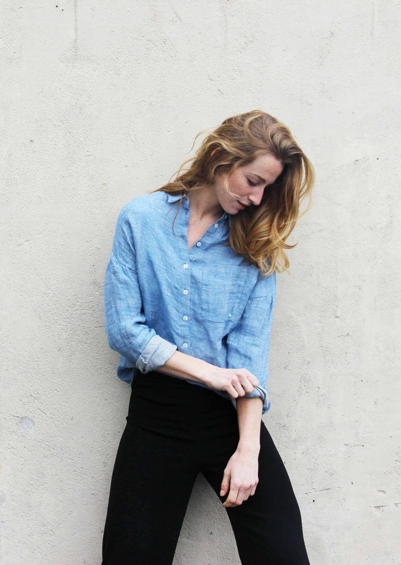Chemisier en lin bleu Elena