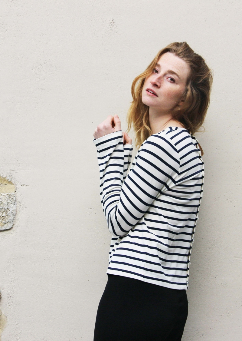 Navy stripes back buttoned top