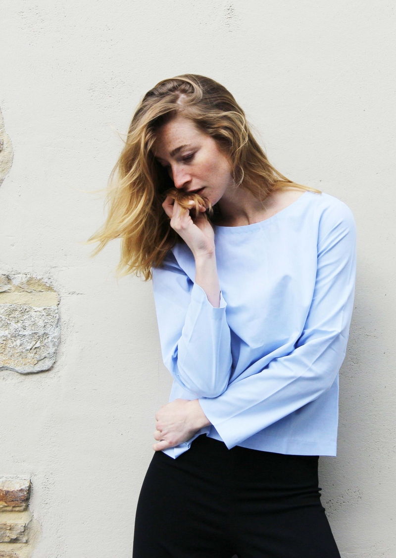 Oxford blue back buttoned top