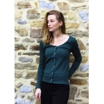 Green forest buttoned top