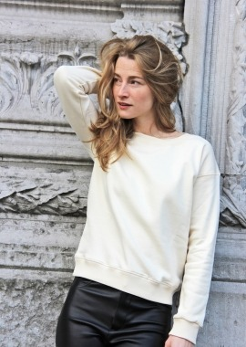 Ecru organic cotton sweater