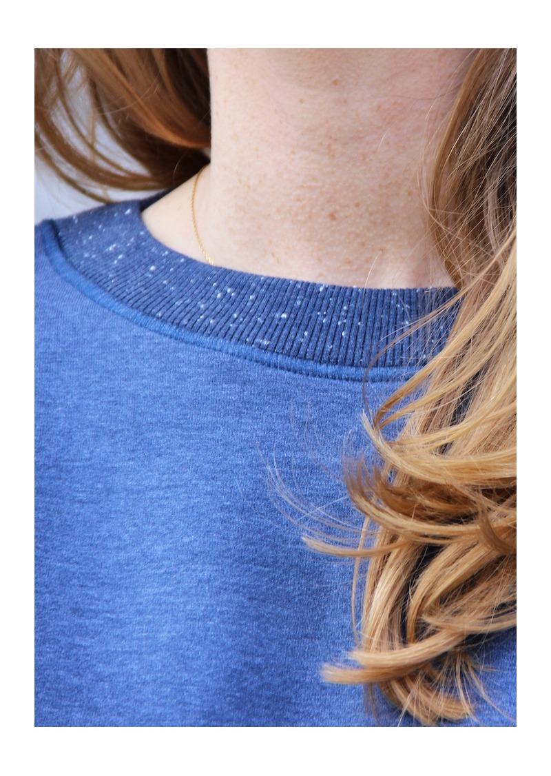 Sweat bleu jeans en coton bio et polyester recylé