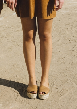 Camel leather espadrilles