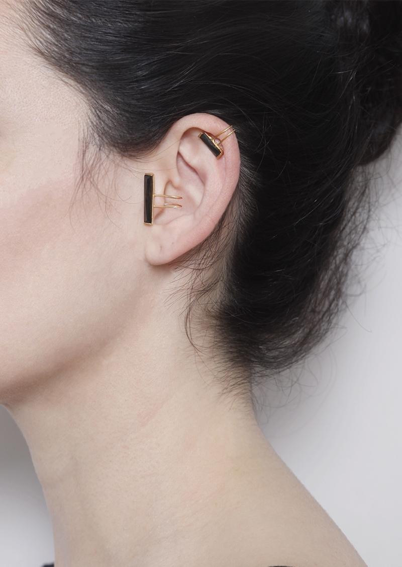 23 kt gold plated sterling silver ear cuff black zircon