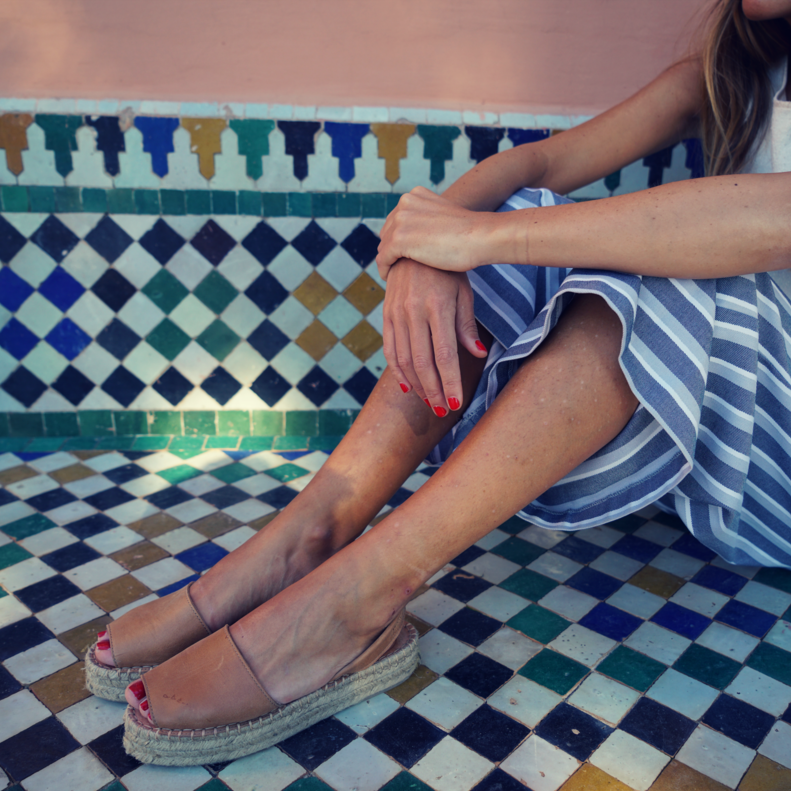 Blue leather sandals for women| Alohas